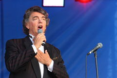 On stage singing opera singer, actor, pop star, idol of the soviet and russian music of Sergei Zakharov Stock Photos