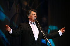 On stage singing opera singer, actor, pop star, idol of the soviet and russian music of Sergei Zakharov Stock Images