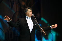 On stage singing opera singer, actor, pop star, idol of the soviet and russian music of Sergei Zakharov Royalty Free Stock Photo