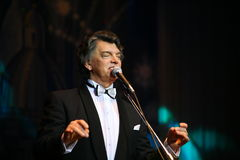 On stage singing opera singer, actor, pop star, idol of the soviet and russian music of Sergei Zakharov Royalty Free Stock Images