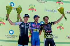 Stage Six Winners on Podium in Stillwater. Stillwater, Minnesota, USA – June 21, 2015: Fabrizio Von Nacher (c) wins stage six as Ben Hill (l) and Kevin Girkins Stock Photos