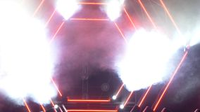 Stage with smoke and spot lights. Presentation concept. Modern podium or a stage with lights and smoke royalty free stock photo