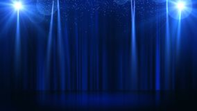 Stage with spot lighting, empty scene for show, award Ceremony or advertising on the dark blue Background. Looped motion