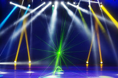 Stage Spotlight. With Laser rays Royalty Free Stock Photos