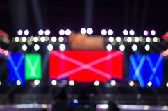 Stage Spotlight with Laser rays, Blurred Photo bokeh Royalty Free Stock Photo