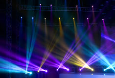 Stage Spotlight with Laser rays Stock Images