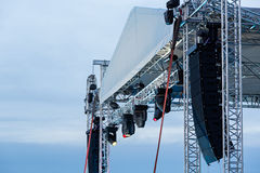 Stage spotlight with loudspeakers Stock Photos