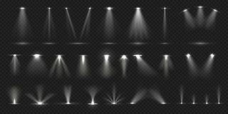 Stage spotlight. Show stage light effect, lighted concert scene for theater gallery disco club. Vector realistic