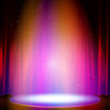 Stage with spotlight. Vector illustration Royalty Free Stock Images
