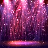 Stage spotlights. abstract festive background. With bokeh defocused lights. Vector Stock Images