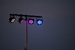 Stage spotlights from electronic rock concert festival. Stage spotlights from a  rock festival in Arad Romania Stock Photo