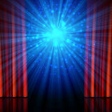 Stage, spotlights and red open curtains Stock Photo