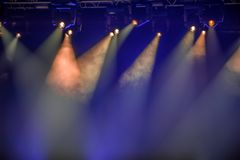 Stage spotlights. Hanging on lighting pipe systems Stock Photography