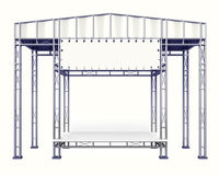 Stage steel construction with empty desk on white isolated. Illustration Royalty Free Stock Photos