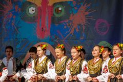 On the stage of Surva Festival in Pernic, Bulgaria Royalty Free Stock Photo