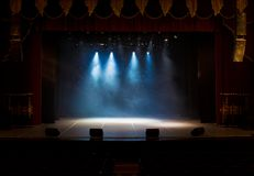 The stage of the theater illuminated by spotlights and smoke. From the auditorium Royalty Free Stock Photography