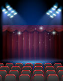 Stage theater with lights and seats. Illustration Royalty Free Stock Photo