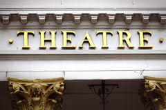 Stage Theater sign, old, building front entrance Stock Photography