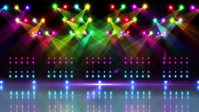 Stage under many colourful spotlights stock video footage