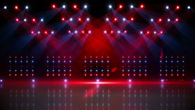 Stage under red and blue spotlights stock video footage
