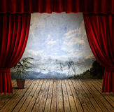 Stage and velvet curtains Stock Images