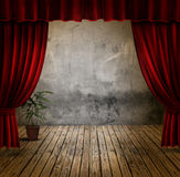 Stage and velvet curtains Stock Photography