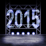 2015 on stage. View to a stage with illuminated year 2015 Royalty Free Stock Photography