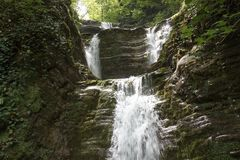 Stage waterfall Shapsugs Stock Image