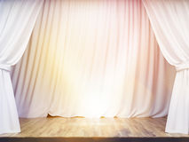 Stage with white curtains. Stage with blank white curtains and lime light. Mock up, 3D Rendering Royalty Free Stock Photos