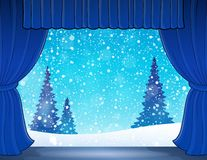 Stage with winter theme 1 Stock Photos