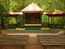 Stage in the woods. Stage at a renaissance festival in the woods royalty free stock photography