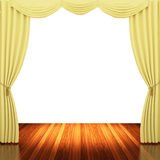 Stage with yellow  curtains and spotlight. Stock Photography