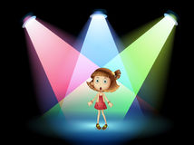 A stage with a young actress. Illustration of a stage with a young actress Royalty Free Stock Images