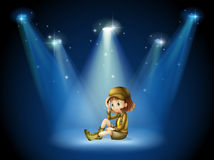 A stage with a young actress. Illustration of a stage with a young actress Royalty Free Stock Photography