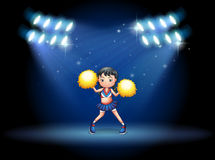A stage with a young cheerdancer at the center. Illustration of a stage with a young cheerdancer at the center Royalty Free Stock Photos