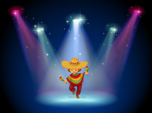 A stage with a young girl dancing in the middle vector illustration
