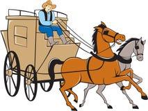 Stagecoach Bestuurder Horse Cartoon royalty-vrije illustratie