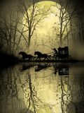 Stagecoach crossing the swamp vector illustration