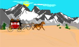 Stagecoach in the deset. Stagecoach crossing the west with mountains behind it Royalty Free Stock Photo