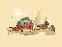 Stagecoach design flat Royalty Free Stock Image