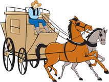 Stagecoach Driver Horse Cartoon Stock Photography