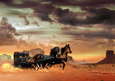 Stagecoach. Fast stagecoach with passengers, pulled by four horses, crosses the desert of Monument Valley raising a cloud of dust. We can see two men on the Stock Photos