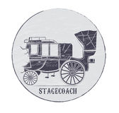 Stagecoach. Grungy logo at the bottom of the text of the mail coach stock illustration