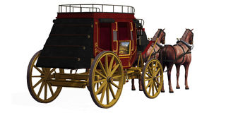 Stagecoach met Paarden Stock Foto