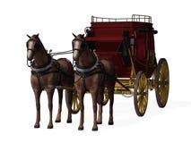 Stagecoach met Paarden Stock Foto's