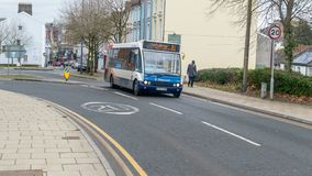 Stagecoach Mini-bus on a Street in Newport stock photos