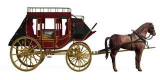 Stagecoach mit Pferden Lizenzfreie Stockfotos