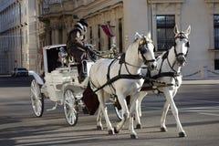 stagecoach odtransportowania ludzie przy prawdziwym sercem Wiedeń zdjęcia stock