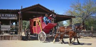 A Stagecoach of Old Tucson, Tucson, Arizona. Tucson, Arizona - March 9: Old Tucson on March 9, 2015, in Tucson, Arizona. An Old Tucson stagecoach welcomes Royalty Free Stock Image