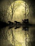 Stagecoach que cruza o pântano ilustração do vetor